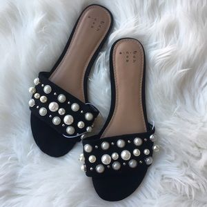 Shoes - Black slide sandals with pearls size 6